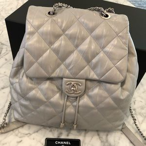 Chanel silver backpack like new